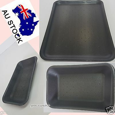 AU Black Foam Water Absorbent Tray Meat/Food Restaurant Cafe Supplies Sizes Pick