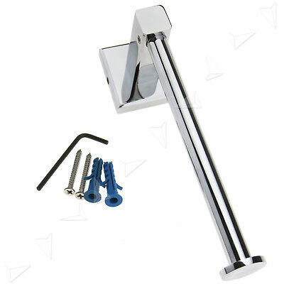 Wall Mounted Brass Square Base Chrome Washroom Toilet Paper Roll Tissue Holder