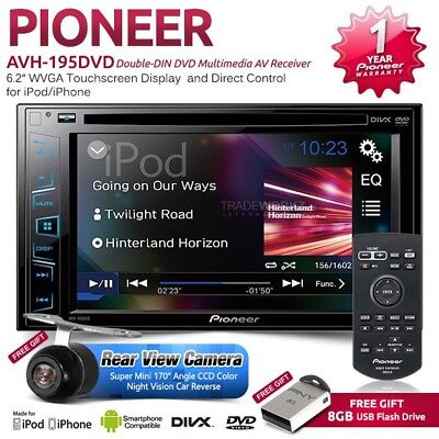 "PIONEER AVH-195DVD 6.2"" Double DIN Reverse Camera Car DVD Player Stereo Headunit"