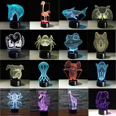 Animal Bedroom 3D Illusion LED Night Light 7 Color Touch Table Lamp Desk Lamp