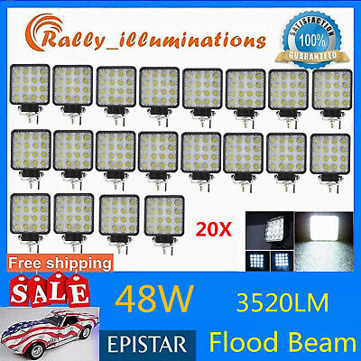 20X 48W LED Work Light Spot Light Off Road RZR Car Boat Jeep Truck Suv 12V 24V