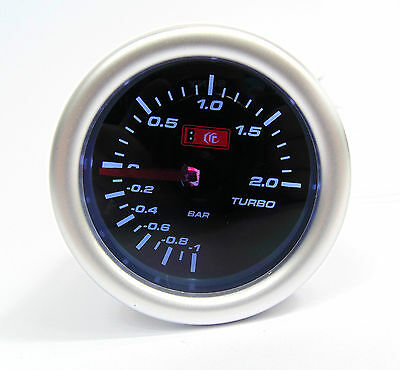Smoked 52mm Turbo Boost gauge 2 Bar Seat Skoda VW Audi Turbo engines