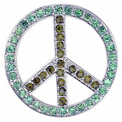 Green Crystal Peace Sign Brooch Pin. Free Delivery