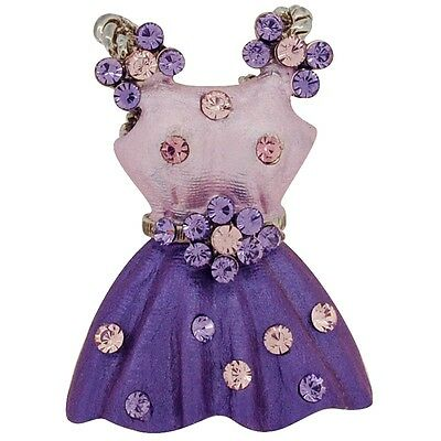 Purple Dress With Flower Belt  .   Crystal Brooch Pin. Delivery is Free