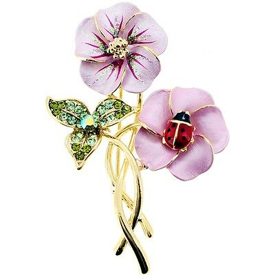 Pink Hawaiian Flower With Red Ladybug  .   Crystal Pin Brooch. Best Price