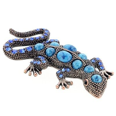 Vintage Style Turquoise Blue Lizard Crystal Pin Brooch. Delivery is Free