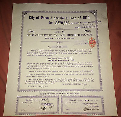 BOULTON BROS & CO 5% Loan of 1914 scrip certificate for £100