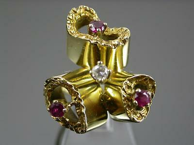 VINTAGE 18ct GOLD RUBY & DIAMOND RING C.1970 Clasic 70's design Maker WEG