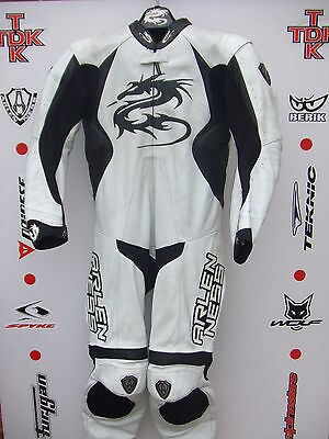 Arlen Ness Black/white One Piece race leathers with hump uk 46 euro 56
