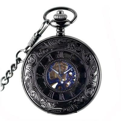 Vintage Mechanical Engraved Hand-Wind Pocket Watch Mens Gift Blue Black