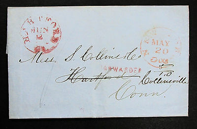 US Stampless Letter New York 1851 Forwarded Cancel - USA Vorphila Brief (L-1623