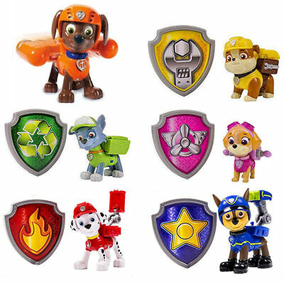 6Pcs Paw Patrol Zuma Action Pack Pup & Badge Shield Pups Backpack Projectile Toy