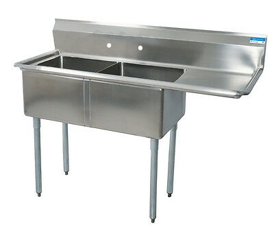 "BK Resources (2)24""x24""x14""D Compartment Sink- Right Drainboard Stainless"