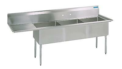 "BK Resources Three Compartment Sink 18""x18"" W/ L or R Drainboard NSF"