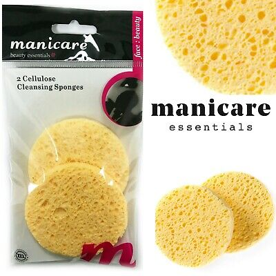 2 Cellulose Cleansing Sponges Manicare Deep Cleanse MakeUp Exfoliator Facial Pad