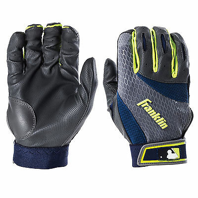 Franklin 2nd Skinz Adult Batting Gloves - Gray/Navy/Optic Yellow - Large
