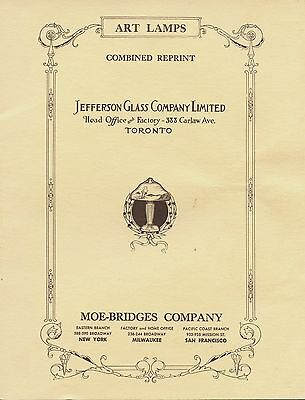 Jefferson Art Glass & Moe-Bridges Lamps incl. Model Numbers / Illustrated Book