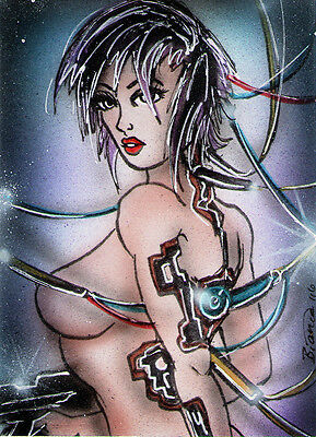GHOST IN THE SHELL Motoko Kusanagi Sketch Card Painting by Bianca Thompson