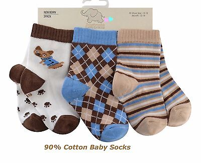 Baby BOYS SOCKS,90% RICH COTTON 3 pairs mix cream blue brown
