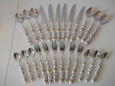 Minton Haddon Hall 24 Piece Double Sided Hand Painted Cutlery Set Romany, Unused