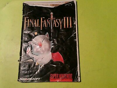 Final Fantasy 3 III - Super Nintendo SNES - Manual Only!
