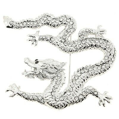 Silver Crystal Dragon Pin Brooch. Shipping is Free