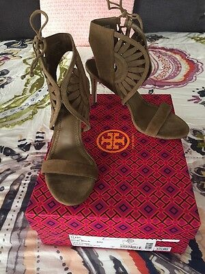 967ac17dc7b307 NIB  350 Tory Burch LEYLA Cut Out Lace Up Suede Leather Pumps Heels River  Rock 7