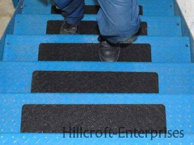 50 Conformable Black Anti Slip Stair Treads Chequer Durbar Safety 600mm x 150mm