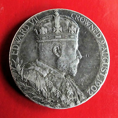 1902 CORONATION OF EDWARD VII & ALEXANDRA 30mm SILVER MEDAL