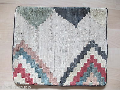 "16""x19"" PILLOW COVER Kilim Flat Weave Vegetable Dye Hand-knotted Wool 583055"