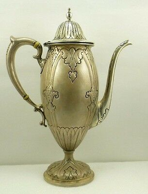 Marcus Co. New York Antique Sterling Silver 10 Inch Coffee/Tea Pot 485 Grams