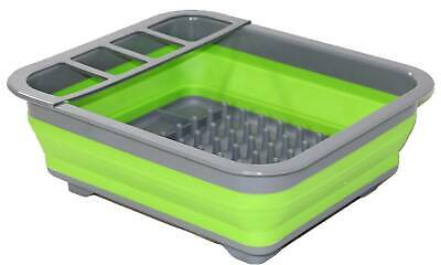 Collapsible Green Dish Drainer New Caravan Boat RV Camping Silicone Space Saving