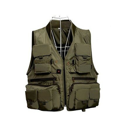 Outdoor Men Fly Fishing Vest Medium Multi Pockets Pouches Jacket Vest New
