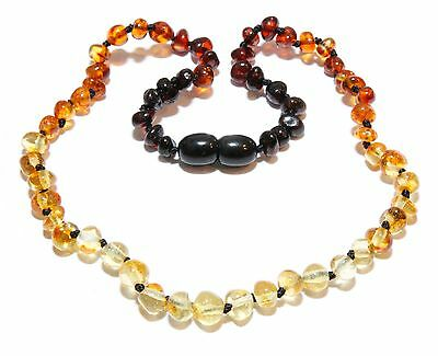 Genuine Baltic Amber Beads Baby Child Necklace Rainbow Reverse 11.8 - 14.6 in