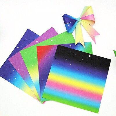 48x DIY Origami Gradients Colored Rainbow Single Sided Colored Paper Kid Crafts