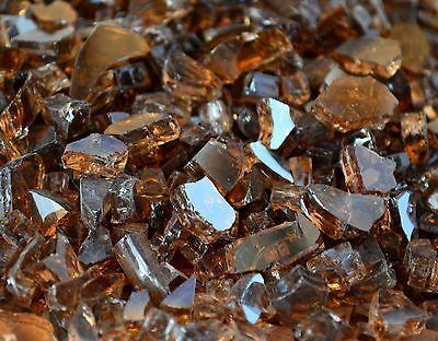 "10 Lbs 1/4"" COPPER REFLECTIVE Fireplace, Gas Logs Fire Pit Glass Rocks Crystals"