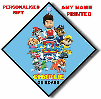 PERSONALISED any name PAW PATROL car sign (on board safety baby child toy gift)