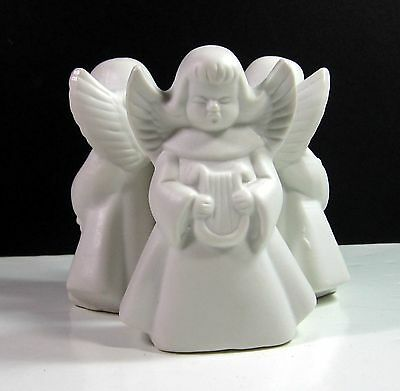 ANGEL TRIO Fine PORCELAIN BISQUE Candle Holder Centerpiece Vtg with BOX 1985