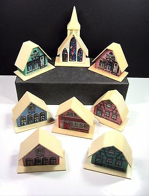 Vintage Plastic Alpine Village Christmas Light Covers Houses Church Set of 8