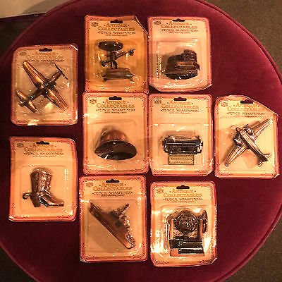 9 Vintage Collectible Die Cast Pencil Sharpeners - Brand New In Packets