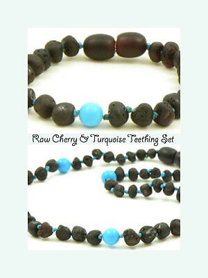 BALTIC Amber Necklace & Bracelet Set toddler baby - Raw Cherry/Turquoise