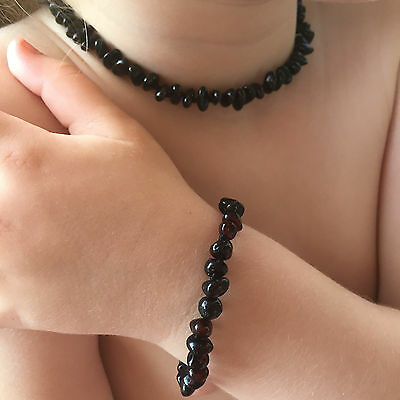 BALTIC Amber Necklace & Bracelet Set for toddler child or baby - CHERRY