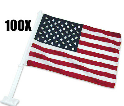 """100 pcs U.S. American Clip On Car Truck Window Clip Flags 16"""" x 12""""-Polyester"""