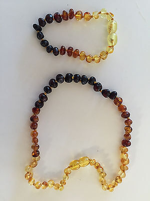 BALTIC Amber Necklace & Bracelet Set for toddler baby child - RAINBOW