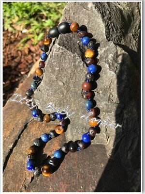 Certified BALTIC Amber Necklace Toddler/baby child - RAW CHERRY/TIGER EYE/LAPIS