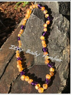 Certified BALTIC Amber Necklace for Toddler/baby child - RAW HONEY & AMETHYST