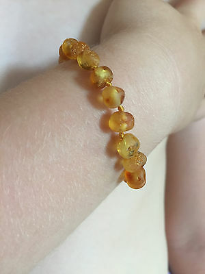 Certified Natural Amber Anklet/Bracelet for toddler or baby child - RAW HONEY