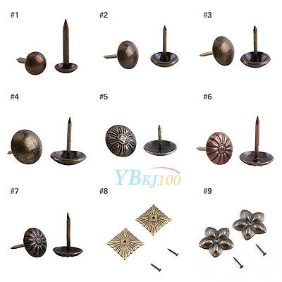 100Pcs Vintage Upholstery Nails Studs Tacks Pins Furniture Sofa Door Decoration