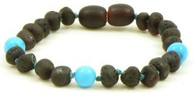 Certified BALTIC Amber Bracelet For Toddler child baby - RAW CHERRY/TURQUOISE