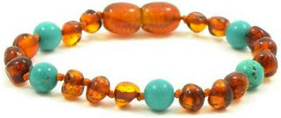 Certified BALTIC Amber Bracelet For Toddler child baby - COGNAC/TURQUOISE